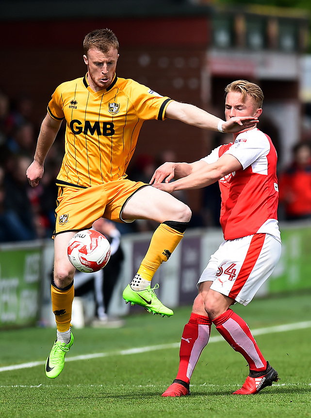 Port Vale's Sam Kelly competes with Fleetwood Town's Kyle Dempsey<br /> <br /> Photographer Richard Martin-Roberts/CameraSport<br /> <br /> The EFL Sky Bet League One - Fleetwood Town v Port Vale - Sunday 30th April 2017 - Highbury Stadium - Fleetwood<br /> <br /> World Copyright &copy; 2017 CameraSport. All rights reserved. 43 Linden Ave. Countesthorpe. Leicester. England. LE8 5PG - Tel: +44 (0) 116 277 4147 - admin@camerasport.com - www.camerasport.com