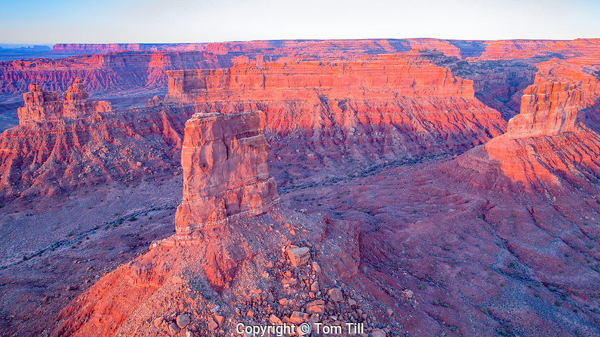 Sunrise view of Valley of the Gods, Bears Ears National Monument, Utah  Spires from flanks of Cedar Mesa