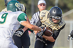 Palos Verdes, CA 10/25/13 - Ryan Augello (Peninsula #29) and Dylan Tyrer (Mira Costa #9) in action during the Mira Costa vs Peninsula varsity football game at Palos Verdes Peninsula High School.