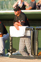Delmarva Shorebirds manager Ryan Minor #44 watches the action from the top step of the dugout during the South Atlantic League game against the Kannapolis Intimidators at CMC-Northeast Stadium on June 21, 2012 in Kannapolis, North Carolina.  The Intimidators defeated the Shorebirds 6-5 in 11 innings.  (Brian Westerholt/Four Seam Images)