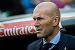 Manager Zinedine Zidane of Real Madrid looks on prior to the La Liga 2017-18 match between Real Madrid and RC Deportivo La Coruna at Santiago Bernabeu Stadium on January 21 2018 in Madrid, Spain. Photo by Diego Gonzalez / Power Sport Images