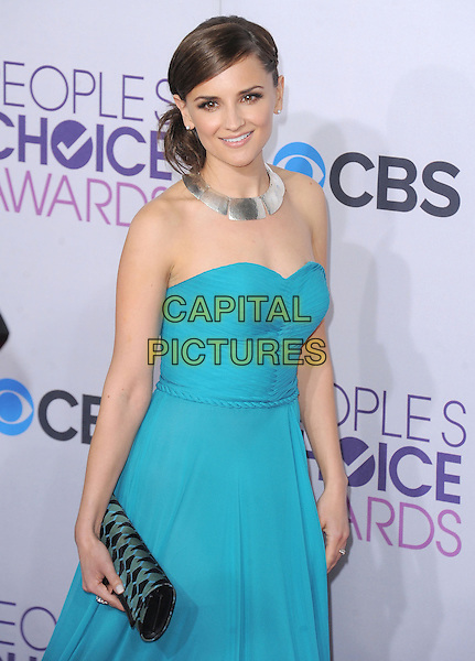 Rachael Leigh Cook.The 2013 People's Choice Awards held at Nokia Live in Los Angeles, California 9th January 2013                                                                   .half length blue strapless dress black clutch bag silver necklace .CAP/DVS.©DVS/Capital Pictures.