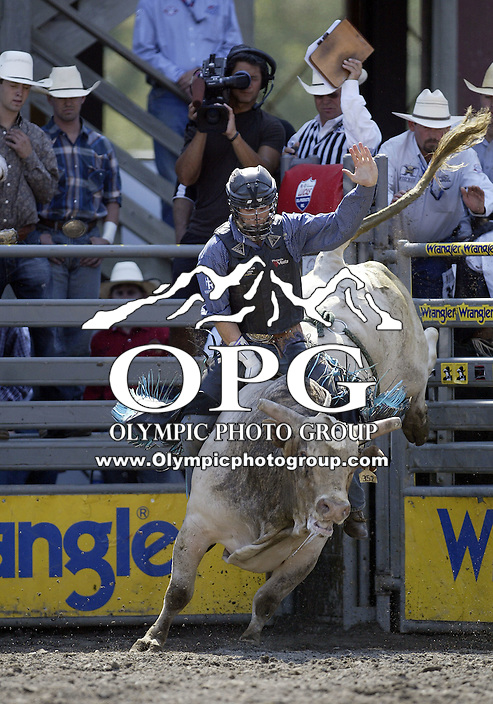 30 Aug 2009:  J. W. Harris riding the bull No Guts was not able to score on his ride during the Extreme Bulls tour stop in Bremerton, Washington.  Bremerton was the last stop in the Wrangler Million Dollar Pro Rodeo Silver Tour for 2009.