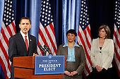 Chicago, IL - December 15, 2008 -- United States President-elect Barack Obama speaks during a news conference in Chicago December 15, 2008 where he introduced Lisa Jackson (C), to run the Environmental Protection Agency (EPA) and Carol Browner (R), to head a new council to coordinate White House energy, climate and environment policies in Chicago, Illinois on Monday, December 15, 2008. .Credit: Jeff Haynes / CNP