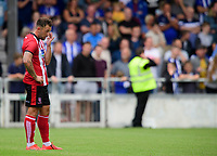 Lincoln City's Neal Eardley reacts after he scored an own goal (Sheffield Wednesday's third goal of the game)<br /> <br /> Photographer Chris Vaughan/CameraSport<br /> <br /> Football Pre-Season Friendly - Lincoln City v Sheffield Wednesday - Saturday July 13th 2019 - Sincil Bank - Lincoln<br /> <br /> World Copyright © 2019 CameraSport. All rights reserved. 43 Linden Ave. Countesthorpe. Leicester. England. LE8 5PG - Tel: +44 (0) 116 277 4147 - admin@camerasport.com - www.camerasport.com