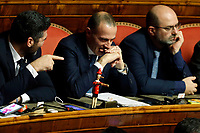 Senators of Lega showing a Pinocchio puppet<br /> Rome December 12th 2019. Speech of the Italian Premier about MES, European Stability Mechanism.<br /> Foto Samantha Zucchi Insidefoto