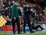 Diego Simeone manager of Atletico Madrid exchanges views with the fourth official during the UEFA Champions League match at Anfield, Liverpool. Picture date: 11th March 2020. Picture credit should read: Darren Staples/Sportimage