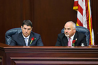 TALLAHASSEE, FLA. 11/18/14-ORGSESS111814CH-House Speaker Rep. Steve Crisafulli, R-Merritt Island, left, and Spearker Pro Tempore Matt Hudson, R-Naples, listen during Organizational Session of the legislature, Nov. 18, 2014 at the Capitol in Tallahassee.<br /> <br /> COLIN HACKLEY PHOTO