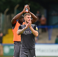 Lincoln City's John Akinde, left, ad Michael O'Connor applauds the fans at the final whistle<br /> <br /> Photographer Andrew Vaughan/CameraSport<br /> <br /> The EFL Sky Bet League One - Macclesfield Town v Lincoln City - Saturday 15th September 2018 - Moss Rose - Macclesfield<br /> <br /> World Copyright &copy; 2018 CameraSport. All rights reserved. 43 Linden Ave. Countesthorpe. Leicester. England. LE8 5PG - Tel: +44 (0) 116 277 4147 - admin@camerasport.com - www.camerasport.com