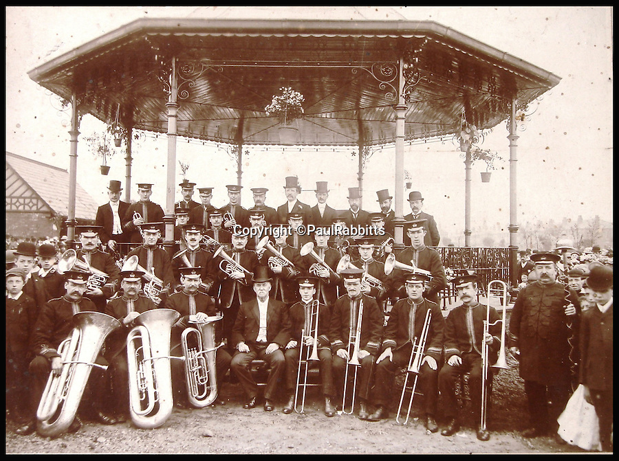 BNPS.co.uk (01202 558833)<br /> Pic: PaulRabbitts/BNPS<br /> <br /> ***Please Use Full Byline***<br /> <br /> The bandstand in Victoria Park, Denton, the stand still exists today and was built in 1907.<br /> <br /> A landscape gardener is trumpeting the great British creation of the bandstand after touring the country's parks to study the iconic structures for a new book.<br /> <br /> Paul Rabbitts' work is a celebration of the Victorian platforms and a throwback to the halycon days of outdoor music when thousands of people would gather in public parks for a brass band performance.