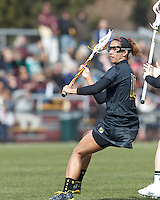 University of Maryland attacker Alex Aust (10)..University of Maryland (black) defeated Boston College (white), 13-5, on the Newton Campus Lacrosse Field at Boston College, on March 16, 2013.