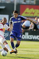 Carlos Johnson fouls Herculez Gomez in the 3rd minute, resulting in an ejection and a penalty to Kansas City..Kansas City Wizards defeated New York Red Bulls 1-0 at Community America Ballpark, Kansas City, Kansas.