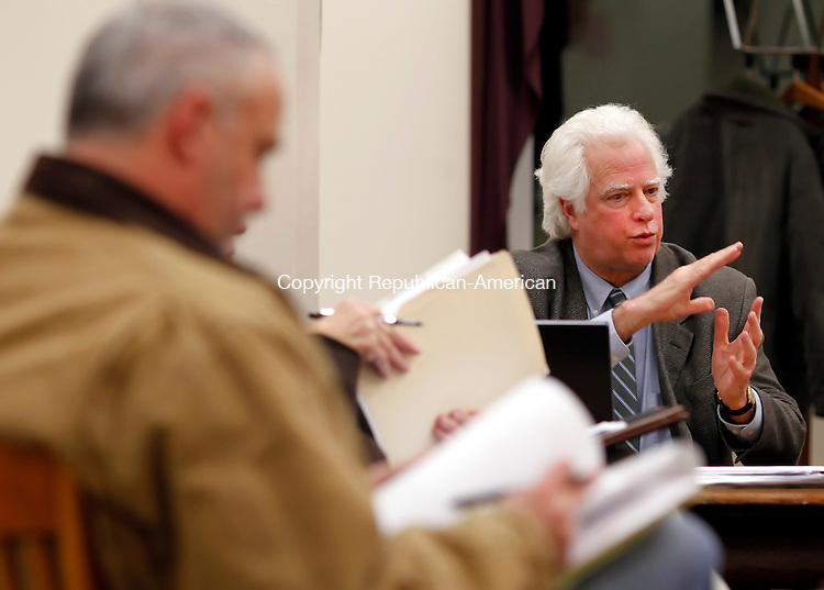 Winsted, CT- 07, February 2011-020711CM09  Arthur Bogen, a consultant for the town's Brownfield project, addresses the Board of Selectman Monday night in Winsted.  The town reviewed 5 applications for the $600,000 Brownfield's Grant that would used to clean contaminants at one of the towns many old mill sites.   Christopher Massa Republican-American
