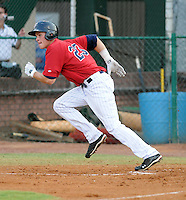 Outfielder Max Kepler (23) of the Elizabethton Twins, Appalachian League affiliate of the Minnesota Twins, in a game against the Bristol White Sox on August 18, 2011, at Joe O'Brien Field in Elizabethton, Tennessee. Elizabethton defeated Bristol, 13-3. (Tom Priddy/Four Seam Images)