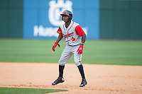 Ozzie Albies (2) of the Gwinnett Braves takes his lead off of first base against the Charlotte Knights at BB&T BallPark on May 22, 2016 in Charlotte, North Carolina.  The Knights defeated the Braves 9-8 in 11 innings.  (Brian Westerholt/Four Seam Images)