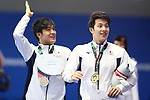 (L-R) <br />  Nao Horomura, <br />  Daiya Seto (JPN), <br /> AUGUST 19, 2018 - Swimming : <br /> Men's 200m Butterfly Medal Ceremony <br /> at Gelora Bung Karno Aquatic Center <br /> during the 2018 Jakarta Palembang Asian Games <br /> in Jakarta, Indonesia. <br /> (Photo by Naoki Nishimura/AFLO SPORT)