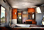 Interior of an old derelict caravan