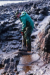 Oil s being cleaned up following the 72,000 tonne oil spill on the Pembrokeshire coast from the Sea Empress oil tanker in 1996