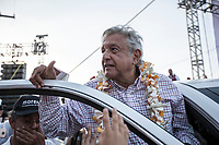 June 1, 2018: Andres Manuel Lopez Obrador, an opposition candidate of MORENA party running for presidency, during his campaign rally at streets of Jesus Maria Municipality, Aguascalientes in Mexico. National elections will be hold on July 1.