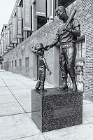 Statue of baseball great Ted Williams outside Fenway Park on Van Ness Street in Boston, Massachusetts
