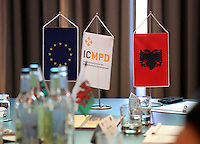 Pictured: European Union, ICMPD and Albanian flags on the meeting table Thursday 02 March 2017<br /> Re: Multi-agency Wales and Albania Anti-Slavery Meeting discussing issues of people trafficking by organised gangs, Cardiff, UK