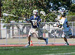 Tustin, CA 04/23/16 - Cole Falbo (Foothill #32) and Daniel Verga {La Costa Canyon #27) in action during the non-conference CIF varsity lacrosse game between La Costa Canyon and Foothill at Tustin Union High School.  Foothill defeated La Costa Canyon 10-9 in sudden death overtime.