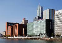 Kantoren aan de Rijnhaven in Rotterdam. Het groene gebouw is InHolland