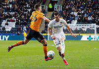 Leeds United's Jack Harrison beats Hull City's Robbie McKenzie<br /> <br /> Photographer Alex Dodd/CameraSport<br /> <br /> The EFL Sky Bet Championship - Hull City v Leeds United - Saturday 29th February 2020 - KCOM Stadium - Hull<br /> <br /> World Copyright © 2020 CameraSport. All rights reserved. 43 Linden Ave. Countesthorpe. Leicester. England. LE8 5PG - Tel: +44 (0) 116 277 4147 - admin@camerasport.com - www.camerasport.com