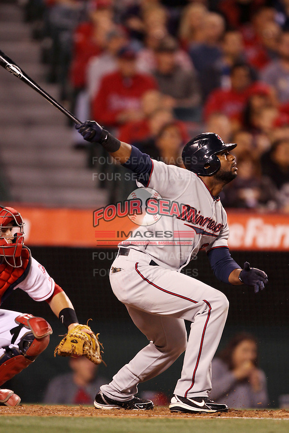 Denard Span #2 of the Minnesota Twins bats against the Los Angeles Angels at Angel Stadium on May 2, 2012 in Anaheim,California. Los Angeles defeated Minnesota 9-0.(Larry Goren/Four Seam Images)