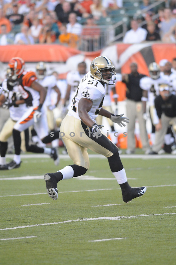JONATHAN VILMA, of the New Orleans Saints, in action during the Saints game against the Cincinnati Bengals  in Cincinnati , Ohio on August 23, 2008..The New Orleans Saints won 13-0