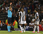 Juan Cuadrado of Juventus red carded during the Champions League Final match at the Millennium Stadium, Cardiff. Picture date: June 3rd, 2017.Picture credit should read: David Klein/Sportimage