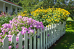 Picket fence and flower garden.