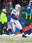 3 January 2010: Indianapolis Colts' wide receiver Sam Giguere in action during a game against the Buffalo Bills on a cold, snowy, final game of the season at Ralph Wilson Stadium in Orchard Park, New York. The Bills defeated the Colts 30-7. Mandatory Credit: Ed Wolfstein Photo