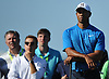 Tiger Woods watches the flight of a ball on the 4nd Hole during a practice round prior to the U.S. Open Championship at Shinnecock Hills Golf Club in Southampton on Tuesday, June 12, 2018.