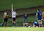 Referee Nigel Bradley awards a try to Johnathan Kawau. Counties Manukau Premier 1 McNamara Cup Final between Ardmore Marist and Bombay, played at Navigation Homes Stadium on Saturday July 20th 2019.<br />  Bombay won the McNamara Cup for the 5th time in 6 years, 33 - 18 after leading 14 - 10 at halftime.<br /> Photo by Richard Spranger.