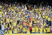 BARRANQUILLA, COLOMBIA - OCTOBER 11: Supporters of Colombia cheer for their team during a match between Colombia and Uruguay as part of FIFA 2018 World Cup Qualifiers at Roberto Melendez Stadium on October 11, 2016 in Barranquilla, Colombia. (Photo by Gabriel Aponte/LatinContent/Getty Images)
