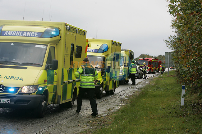 A single vehicle RTA on the North bound carriage way of the M1 near the Monasterboice interchange,Brought traffic disruption to traffic on Sunday Last. the single vehicle which had seven occupants colieded with the central reversation and crash wire stopping the vehicle from passing over into the south bound lane. The vehicle cabe to a stop about sixty meters further on on the lay by after crossing back over the two lanes of motorway. Three ambulances ferried the casulties from the scene to Our Lady of Lourdes Hospital in Drogheda. One unit of the Drogheda fire service and the Two units of the Louth Fire service from Dunleer were dispatached to the scene.. Photo: Newsfile/Fran Caffrey.