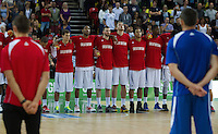 20 AUG 2014 - LONDON, GBR - The Great Britain men's team listen as the national anthems are played ahead f their men's 2015 EuroBasket 3rd Qualifying Round game against Iceland at the Copper Box Arena in the Queen Elizabeth Olympic Park in Stratford, London, Great Britain (PHOTO COPYRIGHT © 2014 NIGEL FARROW, ALL RIGHTS RESERVED)