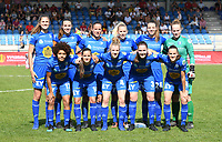 20190422 - Denderleeuw , BELGIUM : Gent's players with Lowiese Seynhaeve (1) , Elien Van Wynendaele (3) , Elena Dhont (4) , Lenie Onzia (6) , Chloe Vande Velde (10) , Kassandra Missipo (12) , Marie Minnaert (13) , Shari Van Belle (14) , Tine Schryvers , Silke Vanwynsberghe (21) and Nicky Van Den Abbeele (28) pictured posing for the teampicture during the final of Belgian cup 2019 , a soccer women game between AA Gent Ladies and Standard Femina de Liege  , in the  Van Roystadion in Denderleeuw , Monday 22 th April 2019 . PHOTO SPORTPIX.BE | DAVID CATRY