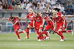 Olympique Lyonnais's Amel Majri, Ada Hegerberg, Camile Abily, Elodie Thomis, Amandine Henry and Wendie Renard celebrate the victory in the UEFA Women's Champions League 2015/2016 Final match.May 26,2016. (ALTERPHOTOS/Acero)