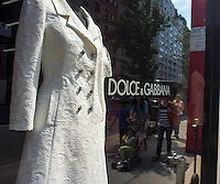 The Dolce & Gabbana store on Madison Avenue in New York on Thursday, June 21, 2013. The fashion designers Domenico Dolce and Stefano Gabbana were given a 20 month prison sentence and a fine in Italy in an involved and complicated tax evasion scheme involving their defrauding the Italian government. (© Richard B. Levine)