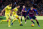 Philippe Coutinho of FC Barcelona (R) in action against Santi Cazorla (L) and Mario Gaspar of Villarreal (L) during the La Liga 2018-19 match between FC Barcelona and Villarreal at Camp Nou on 02 December 2018 in Barcelona, Spain. Photo by Vicens Gimenez / Power Sport Images