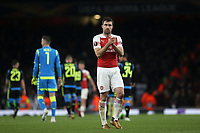 Sokratis of Arsenal applauds the home fans at the end of the match during Arsenal vs Napoli, UEFA Europa League Football at the Emirates Stadium on 11th April 2019