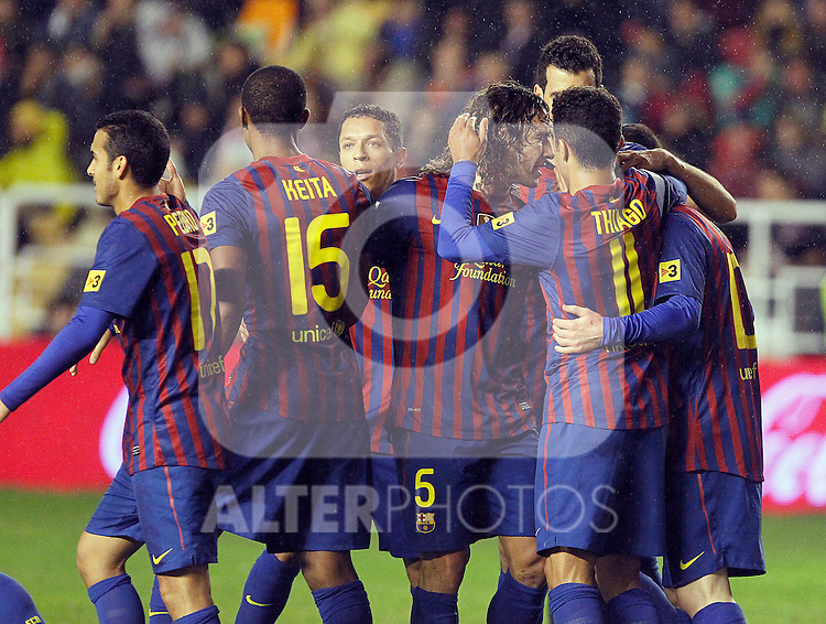 (L to R) FC Barcelona's Pedro Rodriguez, Seydou Keita, Adriano Correia, Carles Puyol, Sergio Busquets, Thiago Alcantara and Leo Messi celebrate goal during La Liga match.April 29,2012. (ALTERPHOTOS/Acero)