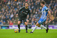 Eden Hazard of Chelsea (10) In action  during the Premier League match between Brighton and Hove Albion and Chelsea at the American Express Community Stadium, Brighton and Hove, England on 20 January 2018. Photo by Edward Thomas / PRiME Media Images.