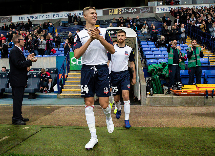 Bolton Wanderers' Adam Senior takes to the pitch<br /> <br /> Photographer Andrew Kearns/CameraSport<br /> <br /> EFL Leasing.com Trophy - Northern Section - Group F - Bolton Wanderers v Bradford City -  Tuesday 3rd September 2019 - University of Bolton Stadium - Bolton<br />  <br /> World Copyright © 2018 CameraSport. All rights reserved. 43 Linden Ave. Countesthorpe. Leicester. England. LE8 5PG - Tel: +44 (0) 116 277 4147 - admin@camerasport.com - www.camerasport.com