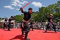 Chris O'Neill, MAY 5, 2016 - American Chris O'Neill (right), the first foreign full-time salaried ninja in Japan, performs with his Japanese colleagues during an event at Nagoya Castle in Nagoya, Aichi Prefecture, Japan. O'Neill joins six Japanese ninjas hired by Aichi Prefecture to promote tourism in the region.<br /> <br /> O'Neill said being a ninja was a lifelong dream. &quot;My personal goal is to protect the weak, defend the innocent, and be a guardian for those who need a guardian,&quot; he said in response to a reporter's question.<br /> <br /> O'Neill added that he was proud to perform alongside his six Japanese colleagues. &quot;We're writing the next chapter of ninja history. We're the next generation of ninja.&quot; (Photo by Ben Weller/AFLO) (JAPAN) [UHU]