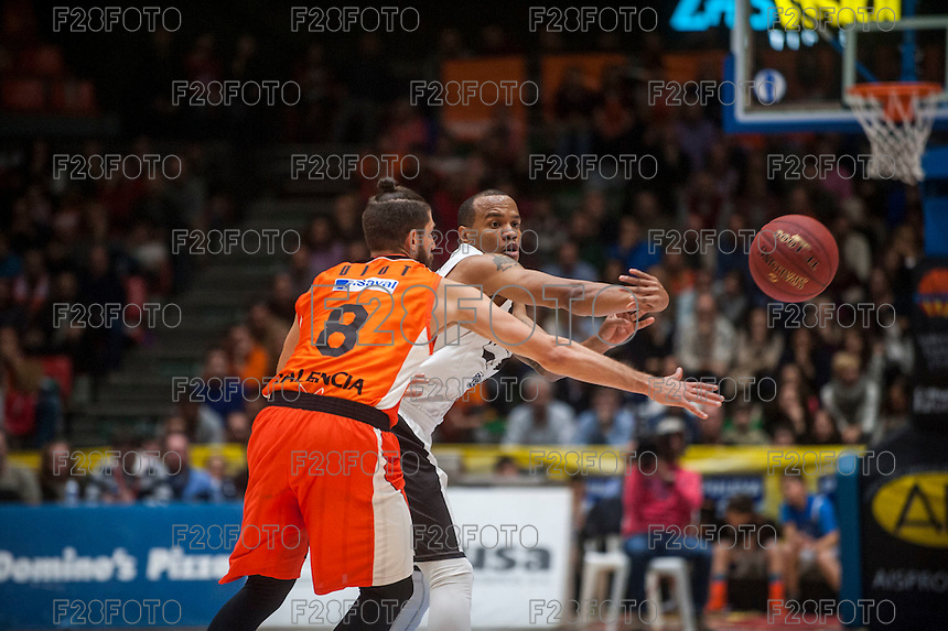 VALENCIA, SPAIN - JANUARY 6: Antoine Diop and Will Hatcher during EUROCUP match between Valencia Basket and PAOK Thessaloniki at Fonteta Stadium on January 6, 2015 in Valencia, Spain