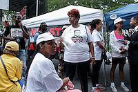 Eric Garner's widow, Esaw Garner awaits before rally for the first anniversary of the death of Eric Garner in Brooklyn New York 07/18/2015. Kena Betancur/VIEWpress