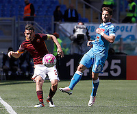 Calcio, Serie A: Roma vs Napoli. Roma, stadio Olimpico, 25 aprile 2016.<br /> Roma&rsquo;s Alessandro Florenzi, left, and Napoli&rsquo;s Dries Mertens fight for the ball during the Italian Serie A football match between Roma and Napoli at Rome's Olympic stadium, 25 April 2016. <br /> UPDATE IMAGES PRESS/Isabella Bonotto